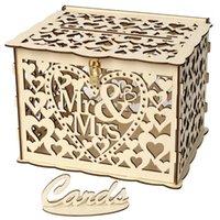 선물 포장 큰 소박한 봉투 카드 상자 잠금 슬롯 그림 나무 상자 결혼식, 파티 floral1