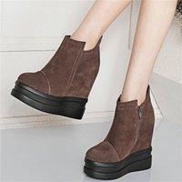 Zapatos de vestir entrenadores mujeres cuero genuino cuñas de tacón alto zapatillas de moda femenino zapatillas de deporte con punta redonda de punta de punta botines zapatos casuales1