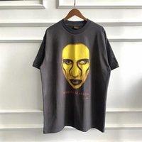 Marilyn Manson футболка мужская женщина ретро вымытые старые трещины повседневные короткие рукава футболка # 4S4W