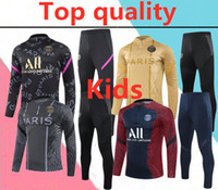 2020 2021 Paris Verratti MBappe Çocuklar Futbol Eşofman Seti 2020 2021 Mbappe Cavani Lucas Çocuk Futbol Eğitimi Takım Elbise