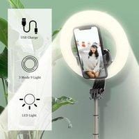 Drahtloser Bluetooth-Selfie-Stick-faltbares Hand-Fernbedienungsstativ mit 5-Zoll-LED-Ring-Fotografie-Licht für Android
