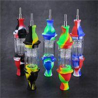 Silizium DAB Stroh Leuchtturm Stil NC Silicon Acrylfilter Dabber Pipe Bunte Raucherbong mit Titan Nagelspitze