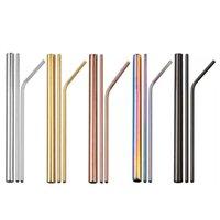 4 pçs / conjunto canudos de aço inoxidável com caixa de pacote Reusável bebendo palha batido palhas escova de limpeza 399 J2