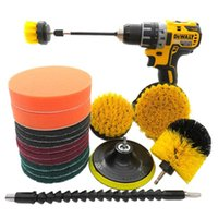 Car Washer 18pcs Floor Wash Carpet Buffing Scrub Pads Home Attachment Durable Bathroom Kitchen Nylon Drill Brush Set Cleaning Tool