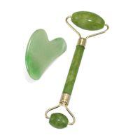 얼굴 목 뒤로하고 턱선의 gddhser에 대한 돌 천연 옥 스크레이퍼 마사지에 의해 설정 2 1 녹색 롤러와 구아 샤 도구