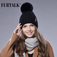 Beanie / Kafatası Kapaklar Furtalk Kürk Pom Şapka Kış Kadın Örgü Moda
