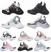 2021 Moda Casual Papá Zapatos Bloque Archlight Zapatillas de deporte de cuero genuino Malla negro Respirador Bow Platform Shoe Stylis 35-40