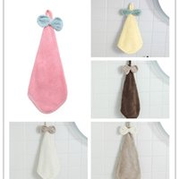 Towel Coral Velvet Bow cartoon Hanging Hand Towels Absorbent Dishcloth The Tablecloth Towel No Oil No Shedding Clean The Rags Wipe The Towel