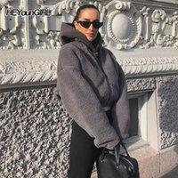 Heyoungirl Lambswool 캐주얼 Fuax 모피 코트 여성 따뜻한 가을 회색 자켓 재킷 패션 긴 소매 오버 코트 여성 streetwear1