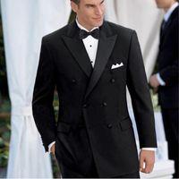 Erkekler Takım Elbise Blazers TPSAADE Gri / Siyah Kruvaze Erkek Batı Ince Resmi Düğün Suit 2 Ceket Erkekler (Ceketler + Pantolon) 2001