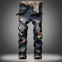 Sıcak satış trendi geçmişe ait eski erkek slim fit sıkıntılı hiphop kot serin erkekler yenilik streetwear kaya canlanma kot erkek kot pantolon yırtık
