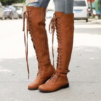 Plus Size 35- 43 knee high boots For Woman Lace Up Riding Buc...