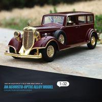 1/32 Alaşım İmparator Retro Klasik Araç Oyuncak Arabalar Geri Çekin Işık Ses Die Döküm Modeli Araba Oyuncakları Y200109