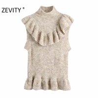 Zevity New Mulheres moda Turtleneck Collar Cascading Ruffle Knitting Sweater Lady mangas Casual Chic Vest pulôver Tops S449 201019