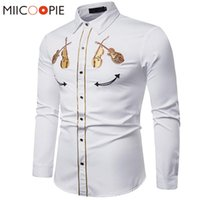 Вышивка белая рубашка 2020 Luxury Western Cowboy Violin шаблон с длинным рукавом социального платья мужские рубашки вскользь тонкой Streetwear