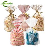 Leotrusting 50pcs / 23 Styles Plume empaqueter Plastique Emballage cadeau Sacs de fête d'anniversaire de mariage Boulangerie Creative Cookie bonbons