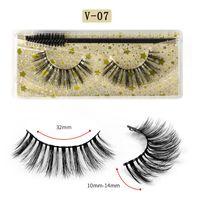 3D Mink Eyelashes Eye makeup Mink False lashes with Brush Set Soft Natural Thick Eyelashes Extension Beauty Tools Colorful pack GGA3802-5