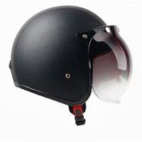 Heißer Verkauf Schwarzer Leder Motorrad Helm Retro Vintage Cruiser Chopper Roller Caoter Racer Moto Helm 3/4 Offene Gesicht1