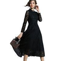 İlkbahar Sonbahar Dantel Uzun Elbise Kadın Standı Boyun Uzun Kollu Artı Boyutu 5XL Ince Ofis İş Elbisesi Kadın Zarif Parti Elbiseler 201126