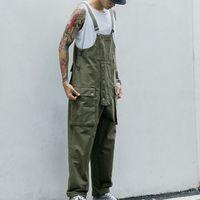 Vintage Çoklu Cep tulumları Casual Erkek Tulum Streetwear Gevşek Bir Adet Caro Pant Kayış Pantalon Hombre Suits 2020 Yaz