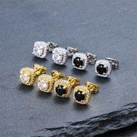 Orecchini ad orecchini da uomo hip hop gioielli di alta qualità moda rotondo oro argento nero diamante orecchini per uomo 306 N2