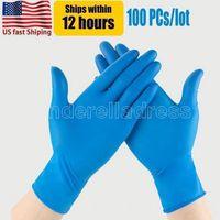 ABD Stok Blue Nitril Tek Kullanımlık Eldiven Tozsuz (Lateks) - 100 Parça Paketi Eldiven Anti-Asit Anti-Asit Eldiven FY9518