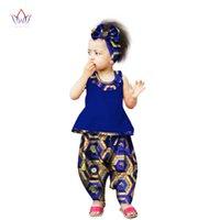Roupas étnicas BRW que chega África calça conjuntos para crianças Dashiki Bonito Bazin Riche Sweet Girl Roupas WYT103