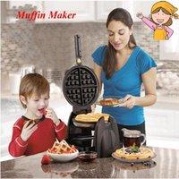 Ev Waffle Yapma Makinesi Çok fonksiyonlu Otomatik Çift Isıtma Dönen Muffin Baker Elektrik Pişirme Pan 26030-CN1