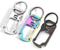 3 colors Stainless steel key chain multi-function opener ruler keychain Hang buckle Key ring beer bottle opener DB379
