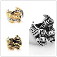 LOT LIVE LIVE TO RIDE TO LIVE HAWK EAGLE 316L Edelstahl Motor Biker Herren Ring Männer Schmuck1