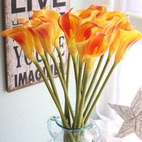 Декоративные цветы венки 1 шт. Искусственные свадебные украшения PU Calla Лили Букеты Главная Осенние Растения Поддельные Flores1