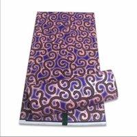 2021 African Real Wax Tessuto Golden Print Ankara Kente Dashiki Purple Cotton Material Migliore qualità per abito da sposa