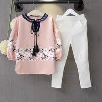 Original Zebra Lembrar grils roupas outono definir floral manga de lã Collar upwear + calça branca lápis duas peças crianças caem ternos