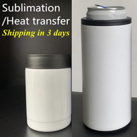 DIY التسامي الحرارة يمكن برودة 12 أوقية سليم مستقيم كوب يمكن أن عازل الفولاذ المقاوم للصدأ جدار مزدوج المشروبات يمكن حارس الباردة YFA2613