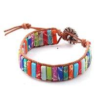 Мода многоцветный Энергия браслеты ручной работы Природный камень пробки бисер кожа Wrap браслет браслеты M