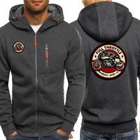 Mens Hoodie Full Throttle Cafe Racer Rockabilly Biker Streetwear New Autumn Fashion Jackets Zipper Casual Sweatshirts Hooded Y201006
