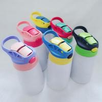 12oz Sublimation Kids Tumbler Blank Tippy Cup Tasse en acier inoxydable thermos thermos bouteille d'eau Enfants de la coupe en plein air maritime de mer DDA721