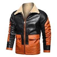 Мужская меховая искусственная кимсера мужская зима теплые ветрозащитные куртки флис выстроились толстые термальные пустоты мужские повседневные пэчворки верхняя одежда верхняя одежда