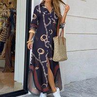 النساء بدوره أسفل الياقة قميص طويل اللباس الصيف زر سلسلة طباعة اللباس عارضة الخريف طويلة الأكمام شاطئ فستان ماكسي vestido 4xl Y1221