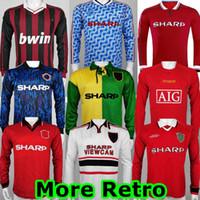 92 93 Cantona Giggs Keane Mens Retro Manga Longa Futebol Jerseys 1998 1999 Beckham Solskjaer Scholes Ronaldo Ferdinand Rooney Chicharito