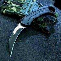 Karambit 자동 전술 발톱 나이프 440C 와이어 드로잉 블레이드 Zn-Al 합금 핸들 나일론 외장이있는 야외 EDC 공구