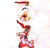 Sublimación Adornos de Navidad Forma de bola redonda Personalizada Consumibles personalizadas Suministros Transferencia Caliente Impresión Mterial Navidad GIF FAST SHIP