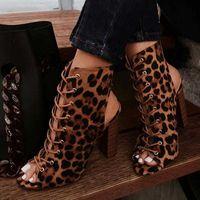 Bottes Perixir Léopard Gladiator Femmes Talons Chunky Boels Cross-Tied Boot Pèces Peep Toe De Lace Up Pompes Femme Sandales Chaussures Taille 35-42 Botas