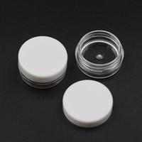barattolo 100pc 2g di plastica rotondo contenitore cosmetico trasparente PS Crema Con Bianco coperchio tappo a vite Jar Esempio 2ml imballaggi vuoti