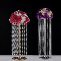 Party Dekoration 6 stücke Hochzeit Mittelstücke Metalltisch Kerzenständer Acryl Kristall Perlen Vorhang Blume Stand