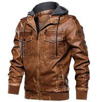Kimseee FAHSION Vestes de motard en cuir pour hommes avec capuche amovible HI Street PU PU moto Vêtements de dessus en daim à capuche à capuche1