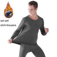 Теплые термические длинные Johns Set Plus Размер термического бархата нижнее белье для мужчин зимний толстый твердый 4XL 5XL 6XL 7XL 8XL 9XL 201124