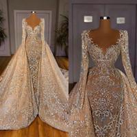 2021 Champagne Spitze Brautkleider mit abnehmbarem Zug langen Ärmeln wulstige Brautkleider nach Maß Roben de mariée