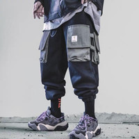 Multi-карманный Cargo Pants Men Harajuku Hip Hop Streetwear Joggers Человек эластичный пояс Sweatpants Techwear