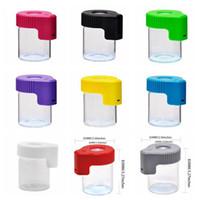 LED Kavanoz Büyüteç Stash Konteyner Kutusu Plastik Cam Kılıfları Görüntüleme Kavanozları 155 ml Conta Depolama Şişe Dab Balmumu Ambalaj Kuru Herb DHL Ücretsiz Için
